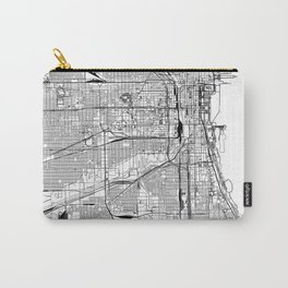 Chicago White Map Carry-All Pouch