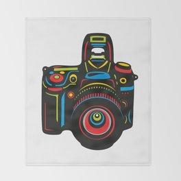 Black Camera Throw Blanket