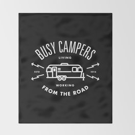 """Busy Campers """"From The Road"""" Throw Blanket"""