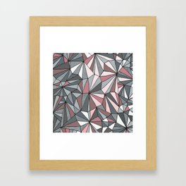 Urban Geometric Pattern on Concrete - Dark grey and pink Framed Art Print