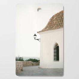 "Travel photography ""Ibiza white"" | Modern wall art Ibiza Spain coast white tones sunset Cutting Board"