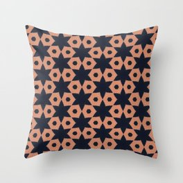 corail and black fabric Throw Pillow