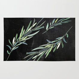 Eucalyptus leaves on chalkboard Rug