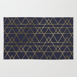 Modern Gold Navy Blue Rug