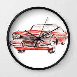 Watercolor Red Classic Car Wall Clock