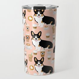 Welsh Corgi tri colored coffee lover dog gifts for corgis cafe latte pupuccino corgi crew Travel Mug