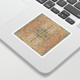 Vintage Woven Coral and Blue Sticker