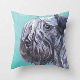The Cesky Terrier dog portrait from an original painting by L.A.Shepard Throw Pillow
