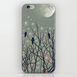 A Dawning with black birds lights on bare branches stars and gibbous moon  iPhone Skin