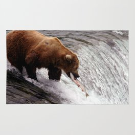 Bear Catching Salmon - Wildlife Photography Rug