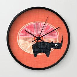 Black Rhino Sunset Wall Clock