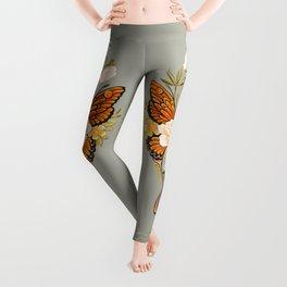 Butterfly Peonies Tattoo Leggings