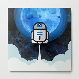 R2D2 flying to the moon Metal Print