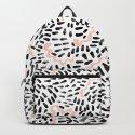 Katli - abstract dots swirls minimal black and white pastel pink pattern decor by charlottewinter