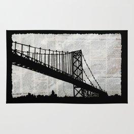 News Feed , Newspaper Bridge Collage Rug