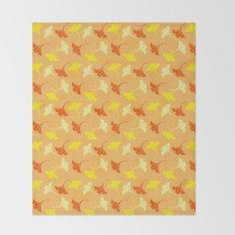 Orange Auspicious Momiji Maple Leaf Japanese Kimono Pattern Throw Blanket