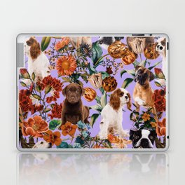 Dog and Floral Pattern Laptop & iPad Skin