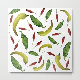 Peppers! - Jalapeno, Banana and Chili Pepper Pattern Metal Print