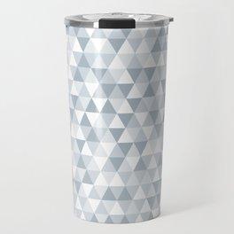 shades of ice gray triangles pattern Travel Mug