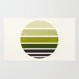Olive Green Mid Century Modern Minimalist Circle Round Photo Staggered Sunset Geometric Stripe Desig Rug