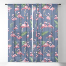 Flamingos Love Pattern 8 Sheer Curtain