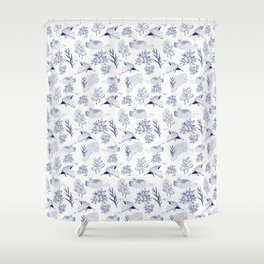 loon pattern Shower Curtain