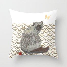 CAT, SEIGAIHA Throw Pillow