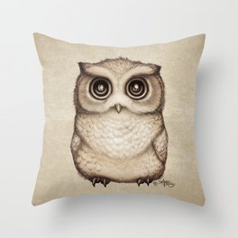"""""""The Little Owl"""" by Amber Marine ~ Graphite & Ink Illustration, (Copyright 2016) Throw Pillow"""