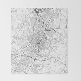 Austin White Map Throw Blanket