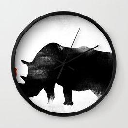 Rhino with bird Wall Clock
