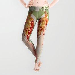 Art Nouveau Absinthe Robette Ad Leggings