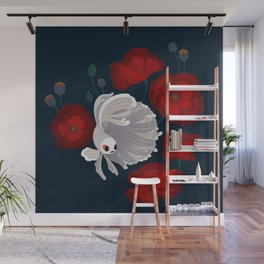 Bettas and Poppies Wall Mural