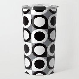Geometric Pattern #193 (black gray circles) Travel Mug