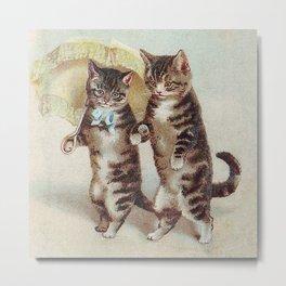 Vintage Cats Walking with Parasol Metal Print