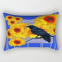 Blue-White Patterned Crow Sunflowers Art design. Rectangular Pillow