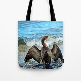 Cormorant Dries off in front of the Sea Tote Bag