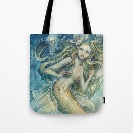 mermaid with Flowers in her hair Tote Bag