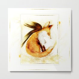 Winged Fox Sleeping Metal Print