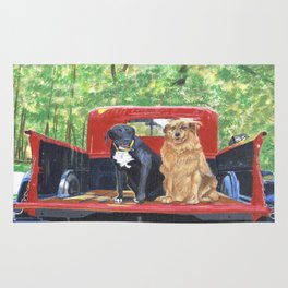 Antique Truck with Dogs Rug