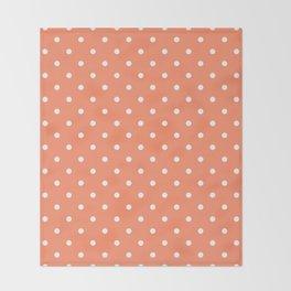 Peach Polka Dots Throw Blanket