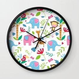 Kids Jungle Pattern Wall Clock