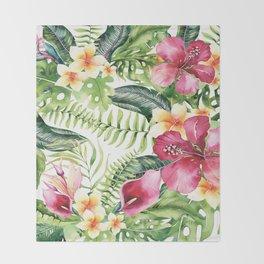 Tropical Botanical Throw Blanket