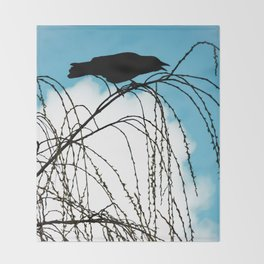 Cawing Crow Throw Blanket
