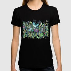 Little Garden Birds in Watercolor Black X-LARGE Womens Fitted Tee