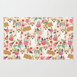 Corgi Florals - vintage corgi and florals gift great for corgi lovers Rug