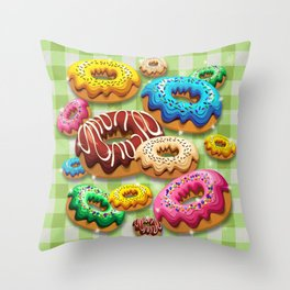Donuts Party Time Throw Pillow