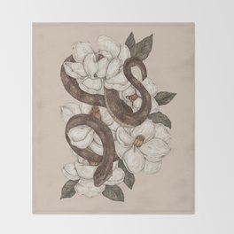 Snake and Magnolias Throw Blanket
