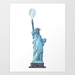 Statue of Liberty with Tennis Racquet Art Print