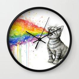 Kitten Puking Rainbow Cat Rainbow Vomit Wall Clock