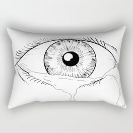 Human Eye Crying Tears Flowing Drawing Rectangular Pillow